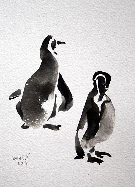 d pinguins aquarel 23x32