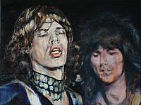 p oliever op doek 40x30 Mick Jagger en Keith Richards 65